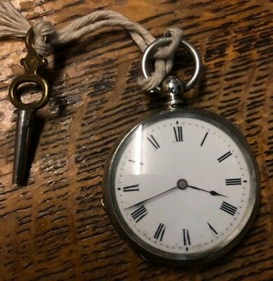 Antique 19thc Swiss Fob Pocket Watch Enamel Dial Fine Silver Ticking 32.8mm