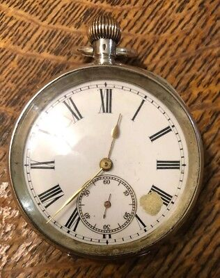 Elsinore Swiss Solid silver open face antique pocket watch Ticking