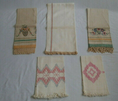 Vintage Linen Dish Towels Table Runner Embroidery Crochet  Invisible Embroidery
