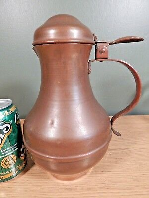Antique Arts And Crafts Tall Copper Syrup Pitcher With Hammered Lid Lever