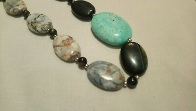 Stone bead necklace toggle clasp brown turquoise black white statement healing