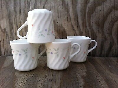Corelle Dishes English Meadow White Swirled Cups Mugs Set Of 4