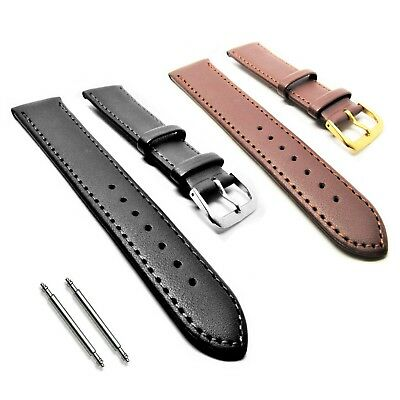 Genuine Soft Grain Leather Watch Strap  Black Silver Buckle 10 12 16 18 20 22 mm