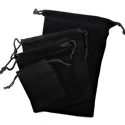 1x Soft BLACK Velvet Drawstring Pouches SMALL LARGE Jewellery Wedding Gift Bag