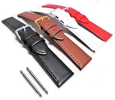Soft Calf Grain Genuine Leather Watch Strap Band Black Brown White Red 10 - 22mm