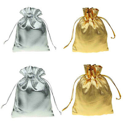 Satin Silk Organza Gift Bags SMALL Drawstring Jewellery Pouches Wedding Gold Sil