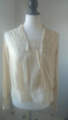 Authentic Edwardian Silk Blouse, High Neck, Cut out embroidry Collar and Bodice
