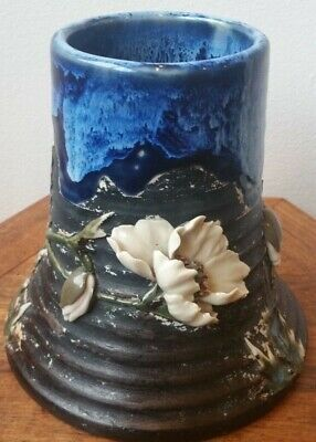 Antique Japanese Sumida Gawa Floral Pottery Wide Bottom Vase Cartouche