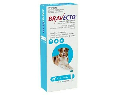 Bravecto Spot On For Dogs Blue 20-40kg 1 Pack Free Post