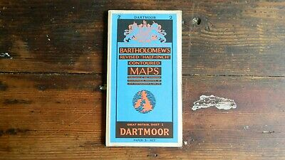 Vintage Bartholomews Revised Half-Inch Contoured Map Vale Of Dartmoor.