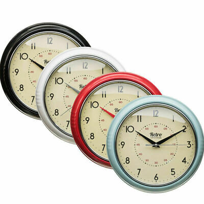 Retro Vintage Diner Round American Kitchen Wall Clock Red Black Cream Blue New