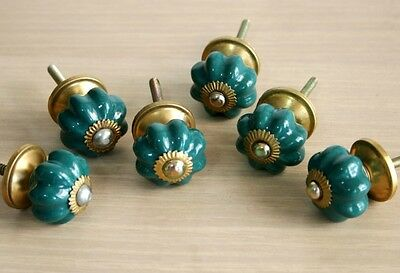 Lot Of 6 Vintage Style Green Ceramic & Brass Spigot Drawer Pulls Knobs Handles