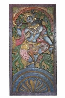 Vintage BARN Door Wall Panel Hand Carved Krishna Wall Sculpture CLEARANCE SALE