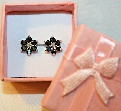 261642655f42b VICTORIA TOWNSEND STERLING SILVER GENUINE DIAMOND SAPPHIRE FLORAL STUD  EARRINGs