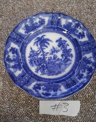 # 3  Flow blue plate  old one wadans & co england