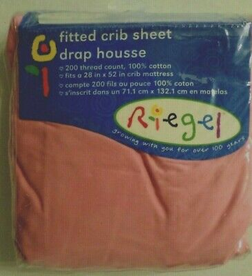 Riegel Girls 100% Cotton Fitted Crib Sheet 200 Thread Count Solid Pink 28x52