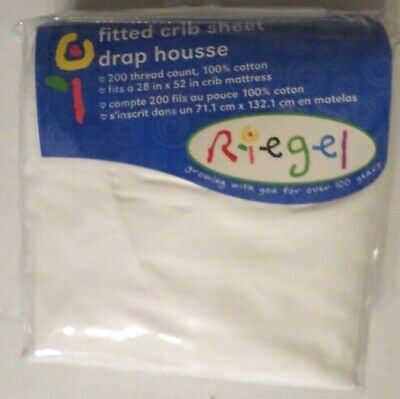 Riegel 100% Cotton Fitted Crib Sheet 200 Thread Count White 28x52 Unisex