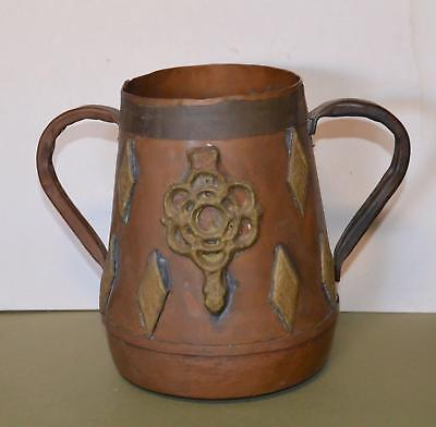 Arts And Crafts Interesting Copper With Brass Urn  Pot Handcrafted