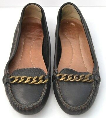 37cc7668a88 J. Crew Womens Size 7 Leather Loafer Driving Moccasin Flats Black Gold Chain