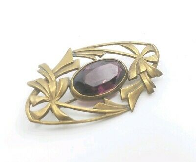 Antique Victorian Amethyst Glass Brooch Ornate Gorgeous Pin