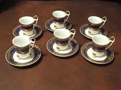 Set of 6 Fine Porcelain Demitasse Cups & Saucers Blue/Gold New Out of Box