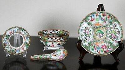Group of Four (4) Antique Chinese Export Famille Rose Medallion Plate, Spoon,