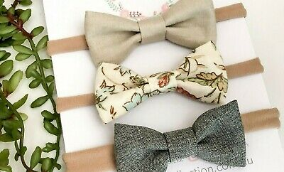 3 x bow headband pack ivory grey floral newborn baby girl toddler fabric nylon