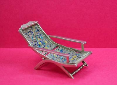 antique Chinese silver export miniature Planters chair Enamel Cloisonne W.H.T ?