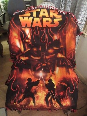 """2015 Star Wars The Force Awakens Darth Vader Throw Blanket Red Flames 40"""" x 56"""""""