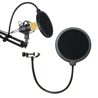Microphone Studio Wind Screen Pop Filter Mask Shied Black Double Screen Mesh