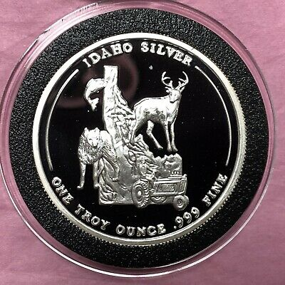 Great Seal of Idaho State 1 Troy Oz .999 Fine Silver Round Proof Coin Medal 999