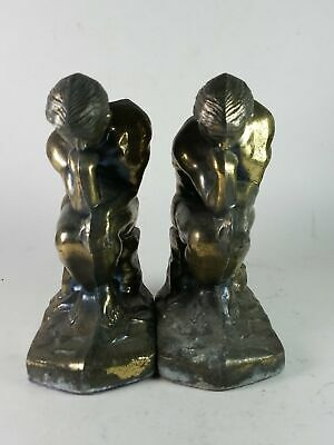 """Pair of Vintage Art Deco Brass Colored """"The Thinker"""" Bookends"""