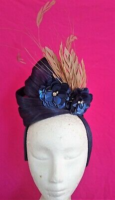 Navy Gold Turban Bling Feathers Fascinator Headband Crown Races Melbourne Cup