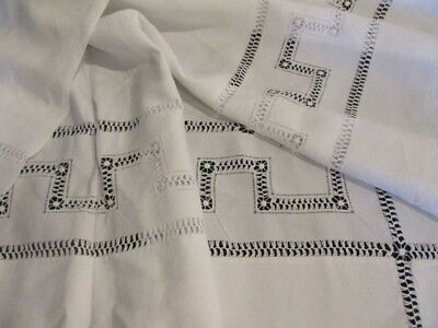 Superb Antique French Pure Linen Chateau Sheet, Drawn Thread Greek Key V.Large
