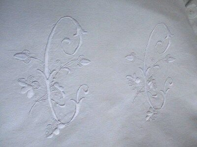 Fantastic Antique French Trousseau Sheet Slubby Linen Huge Monogram
