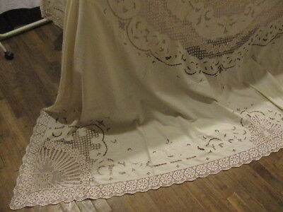 Antique Vintage French Bed Cover Stunning Embroidery Cutwork LaceNEW LOWER PRICE