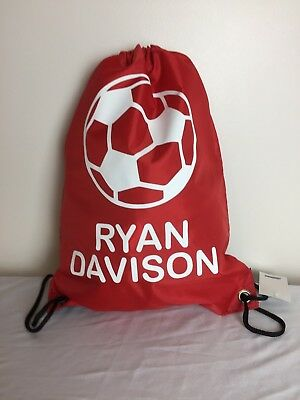 Personalised Football Drawstring Bag PE Gym School P.E Kit Kids Sports Rucksack
