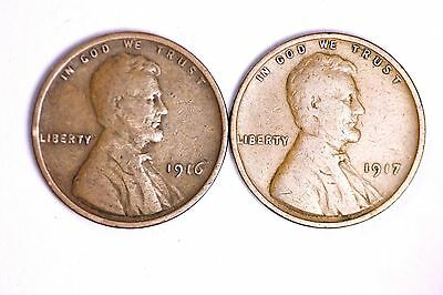 1916 and 1917 Lincoln Wheat Cent Penny (2 COIN LOT) LOWEST PRICES ON THE BAY!  F