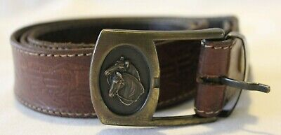 VINTAGE 1970's Brass Horse Design Buckle w Tooled Leather Belt Made in Australia