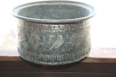 Old Antique Copper Tin Plated Persian Bowl Planter with Flowers and Birds Rare