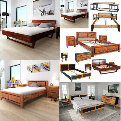 Retro King Queen Size Bed Frame Cabinets Nightstands Shelf Coffee Table Bed Room
