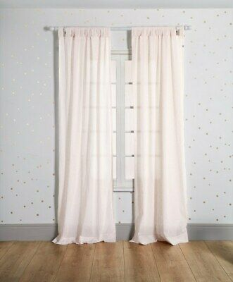 NEW Mamas and Papas Pink Jacquard Nursery Full Length Tab Top Voile Curtains