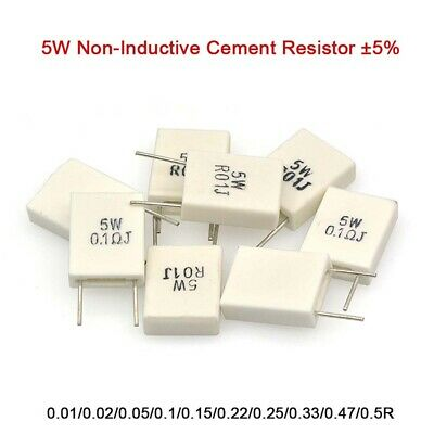 5W Non-Inductive Cement Resistor ±5% Values of 0.01Ohm-0.5Ohm Ceramic Resistor
