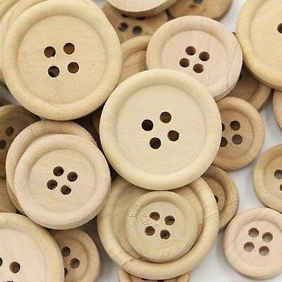 50 Pcs Mixed Wooden Buttons Natural Color Round Sewing Scrapbooking DIY Clothes
