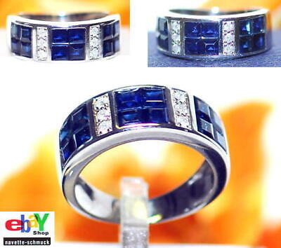 wertvoller exclusiver 1,38ct Brillant Saphir 750er Goldring Wert 2090 € Euro RAR