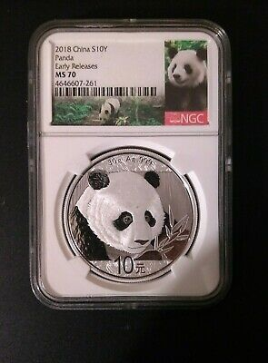 2018 China Silver Panda Ngc Ms70 Early Releases Label Ms-70