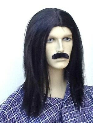 Long Straight Black Fancy Dress Wig &  Self Adhesive Moustache. Uk Dispatch