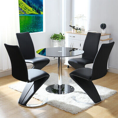 Dining Table And Chairs 2 4 Seater Set Tempered Glass Top Chrome Leg Living Room