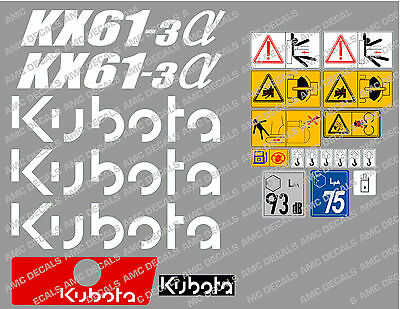 Kubota Kx61-3 Mini Digger Complete Decal Set With Safety Warning Signs