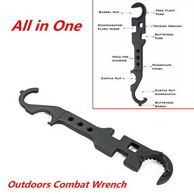 Outdoors Combat Wrench Tool Steel Spanner Multi-Function Tube Tool All-in-One